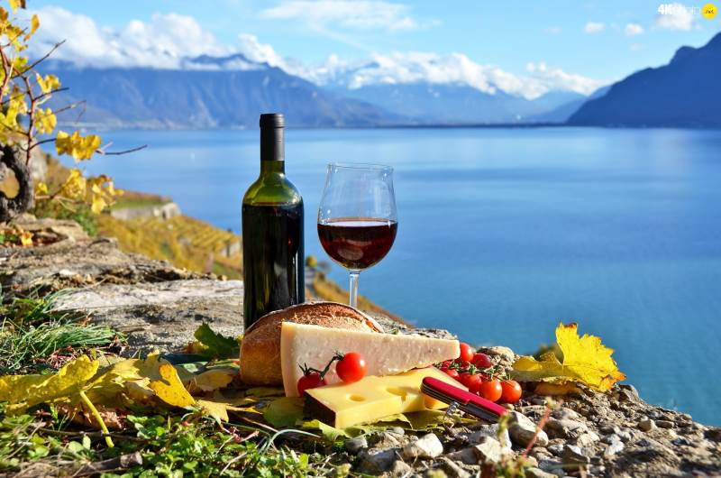 mountains-lake-picnic-wine